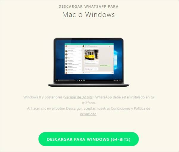 descargar whatsapp web para pc 64 bits
